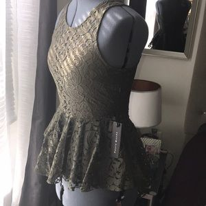 Tops - Olive green Lace peplum top!!✨